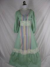 Vtg 60s 70s Green Cotton Womens Vintage Prairie Reenactment Dress W32