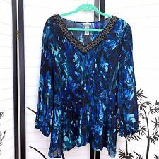 Catherines Womens Top Sz 2X Petite Semi Sheer Blue Embellished V Neck Tunic