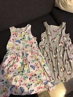 Lot 2 Robes H&m Taille 4/6 Ans Papillon / Licorne
