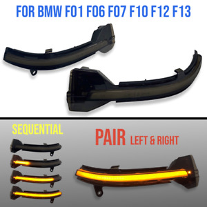 For BMW F01 F10 F12 5 6 7 Series PAIR Mirror Sequential Turn Signal Light Smoked