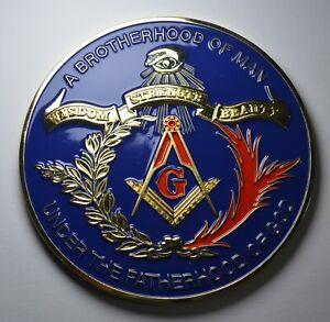 Large Enamelled MASONIC Car Emblem/Decoration/Badge/Decal. Freemasonry. 75mm