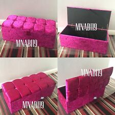 40 INCH HOT PINK CRUSHED VELVET OTTOMAN STORAGE BOX TOY FOOT STOOL 4 DIAMANTE