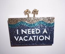 Kate Spade I Need a Vacation Breath of Fresh Air glitter clutch water theme NWT