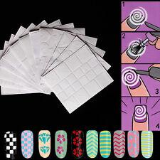 12 Pcs Pochoir Creux Autocollant Nail Art Manucure Stencil Stickers Ongles Neuf