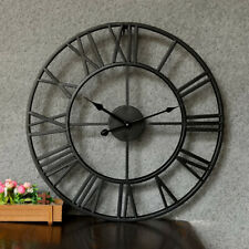 Retro Large Roman Number Wall Clock Metal Watch Decoration Living Room Bar Decor