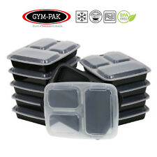 Meal Prep 3 Compartment Food Containers Stackable Microwavable Lunch Box & lids