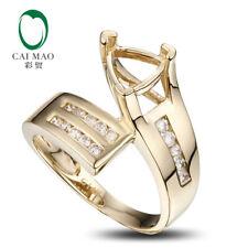 14K Yellow Gold 7x7mm Trillion 0.3ct Full Cut Diamond Semi Mount Ring Tension