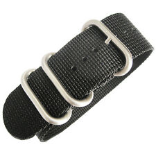 24mm deBeer Ballistic Nylon Black UTC Military One-Piece Dive Watch Band Strap