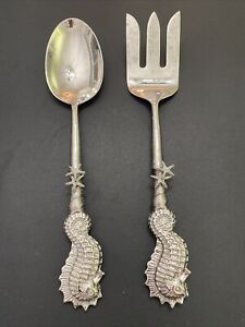 Silver Plated Salad Serving Fork & Spoon set w/ Serving Spoon & Fork