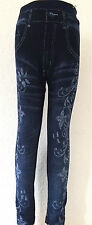 Kinder Leggins Hose Jeans-Optik- Mädchen Leggings mit Muster Strech  Gr. 104-146