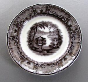 ANTIQUE Podmore Walker & Co. BLACK MULBERRY Transferware PLATE Washington Vase