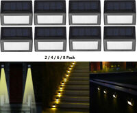 New Solar Powered LED Deck Lights Outdoor Path Garden Stairs Step Fence Lamp USA