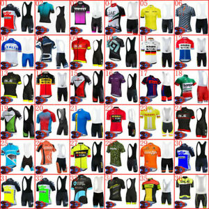 Mens Cycling Jersey Bib Shorts Kits Bike Short Shirt Brace Pants Set