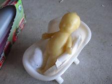"Vintage Wax Kewpie Doll Figure with Plastic Bath Tub 4 1/2"" Tall"