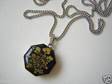 925 Silber Anhänger Glaseinlage mit Blumen Motiv + 835 Silber Kette Gesamt 9,5 g
