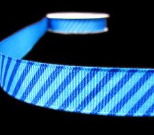 """4 Yards Diagonal Stripes Striped Grosgrain Ribbon 5/8""""W Black White Blue"""