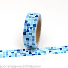 Washi Tape Blue Geometric Squares 15mm x 10m
