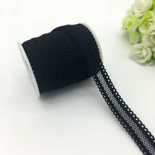 "5yards 5/8""16mm Bilateral Lace Grid Fold Over Elastic Spandex Lace Band Black"