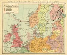 SECOND WORLD WAR. North sea & Baltic. Minefields & Naval Bases. Poland 1940 map