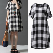 AU Women Oversized Casual Short Sleeve Check Plaid Mini Dress Tops Blouse Shirt