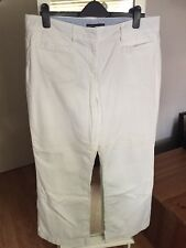 """TOMMY HILFIGER White Chinos Trousers, Size 16, 30"""" Leg Wide Leg Spring Summer"""