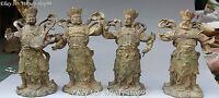 "10""China Myth Bronze Taoism 4 Great Heavenly Kings Immortals God Statue Full Set"