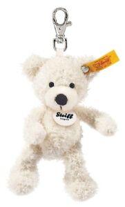 Steiff 'Lotte' Teddy Bear Keyring - white plush soft toy clip - 12cm - 111785