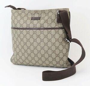 Authentic GUCCI Brown GG PVC Canvas Leather Crossbody Shoulder Bag Purse #40507