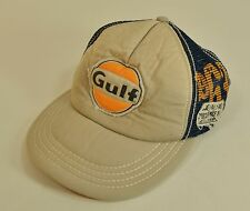 d5b9bfbd661 GULF Gas Oil Petroleum Trucker Racing Hat Baseball Cap Distressed Mesh  Snapback