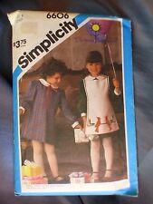 VTG 1984 Simplicity Sewing Pattern 6606 Sz 6 Girls Applique Dress & Apron UNCUT