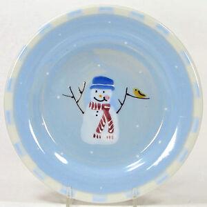 "Hartstone Pottery SNOW PEOPLE 8"" Dessert Salad Plate(s) Snowman Blue Single Chck"