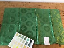 VINTAGE MID 20TH C GREEN RAYON /ACETATE FABRIC 92 CM WIDE X 1.4 M