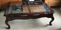 """Large Dark Oak Coffee Table with Four Leaded Glass Insets 51"""" X 42"""""""