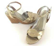 Faded Glory Silver Strappy Wedge Sandals Ankle Strap Women's Size 9.5 Euro 41.5
