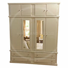 HAND MADE DEWSBURY FURNITURE 4 DOOR WARDROBE WITH TOPBOX IVORY(ASSEMBLED)