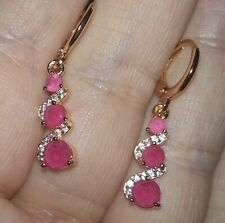 ❤️Earrings 9ct Gold Over Ruby Diamond ❤️Drops 31 mm UK FREE Postage Silver ❤️