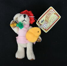 RUSS BERRIE Tiny Town Miniature Jointed Plush Teddy Bear Artist Girl 3-1/2""