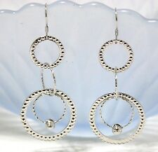 Large Long Multi Circles Drop Earring in Solid Sterling Silver Handmade