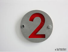 Modern House Numbers ,One Number Concrete & Acrylic- Sign Plaque - Door Number
