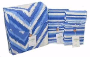 NOSTALGIA HOME Shay Blue and White Abstract 3P KING DUVET COVER SET NEW COTTON