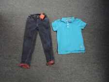 MINI BODEN/HANNA ANDERSSON Lot Of 2 Blue Polo Shirt And Jeans Sz 120/5-6Y EE5242