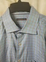 PETER MILLAR Mens XL Long Sleeve Cotton Shirt Blue Plaid Check MINT