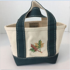 L.L. Bean Small Gathering Tote Bag Canvas Embroidered Maple Leaves  L01