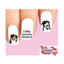 Waterslide Dog Nail Decals Art Set of 20 - Australian Shepherd Assorted