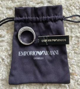 Emporio Armani Silver Wire Mesh Ring - Size 9