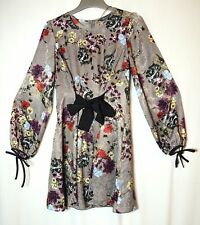 GREY RED BLUE FLORAL LADIES PARTY FORMAL TUNIC DRESS SIZE 10 PRIMARK