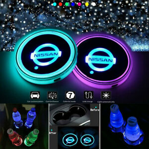 2PCS LED Car Cup Holder Lights Pad Mat for NISSAN Atmosphere Lamp Light 7 Colors
