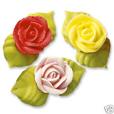 3 EDIBLE ICED SUGAR ROSE CAKE DECORATIONS WITH LEAVES IN YELLOW PINK AND RED