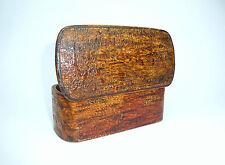 Grande Scatola legno Corteccia di albero Latta tabacco Russia um 1880 B-5455