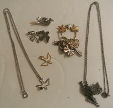 Lot VINTAGE Estate Jewelry DOVE Bird Pin Pendant Necklace PEACE LOVE Pewter Gold